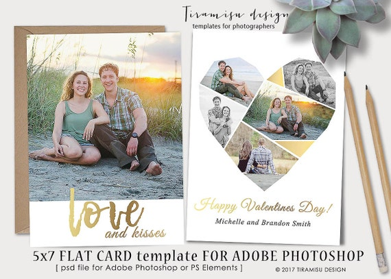 Valentines Day 5x7 Card Template For Adobe Photoshop