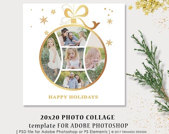 Christmas Card Template, 20x20in Photo Collage Photoshop Template, Holiday Card Template, sku xm17-4