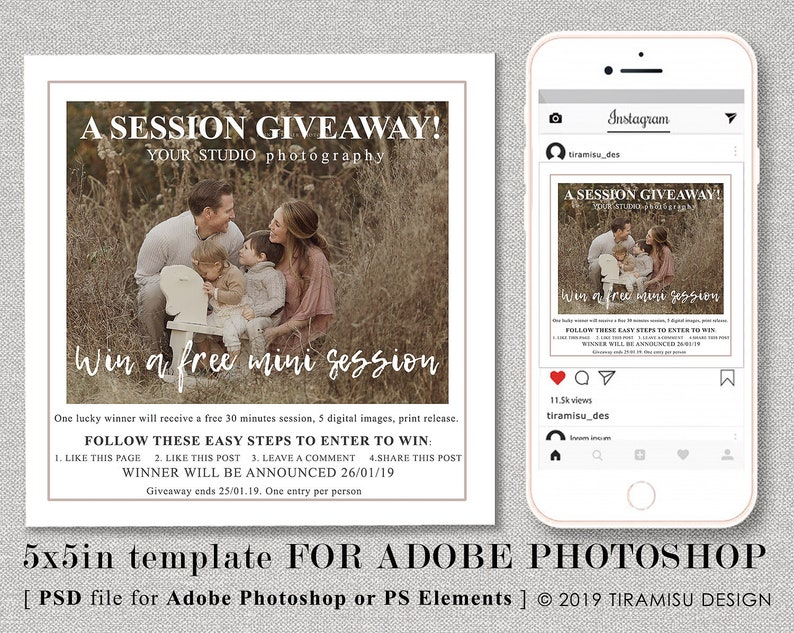 Photography Mini Session Template, Instagram Mini Session Template,  Photography Giveaway Template, Giveaway Marketing Board, giv19-1