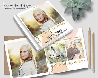 12x12 Senior Album Photoshop Template, Photo Album for Pro Photographers, Photobook Template