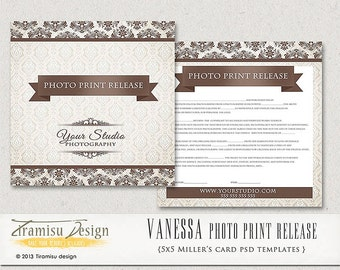 INSTANT DOWNLOAD Photography Print Release Photoshop 5x5 Template- Vanessa