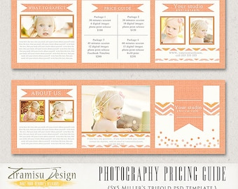 Photographer Price List,Photography Package Pricing, Photography Marketing Price Guide 5x5 WHCC lab Trifold Template, Jessy-sku 2-4