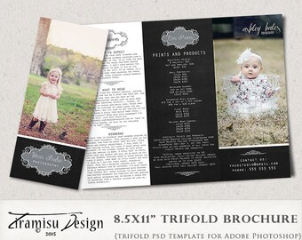Family Photography Welcome Guide, Trifold Brochure Photoshop Template, Flyer, Photography Pricing Guide, Price List  sku tw-1