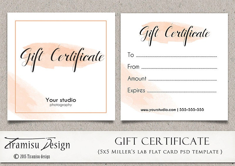 Photography Gift Certificate Photoshop 5x5 Card Template Etsy