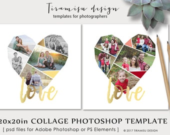 Valentine's Day Photo Collage Template, Heart Collage Photoshop  Template,20x20 Print Template, Blog Board, Storyboard Template, sku cb-17