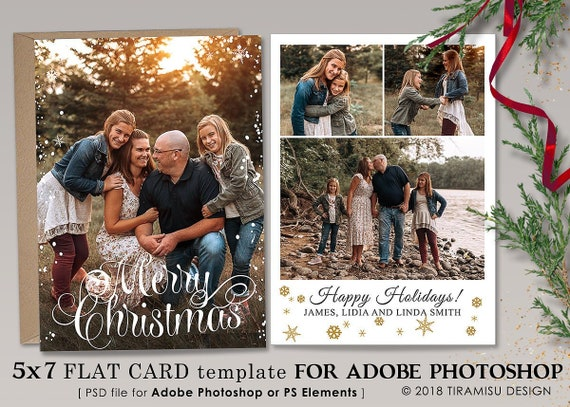 Holiday Card Template Photoshop Christmas Card Template Etsy