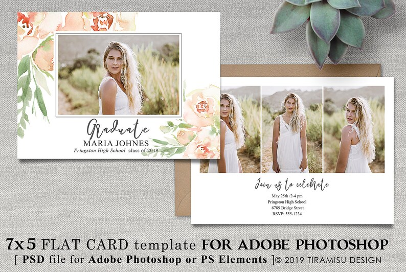 Senior Graduation Announcement Template Photoshop Card Template Photography Template sku grad19-9 Graduation Invitation Template