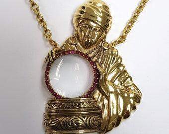 18ct Gold Plated Antique Style Fortune Teller Crystal Ball Magnifying Pendant With Ruby Stones