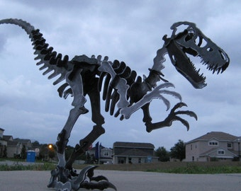 Steel Dinosaur Skeleton Velociraptor Metal Puzzle Kit Plasma Cut