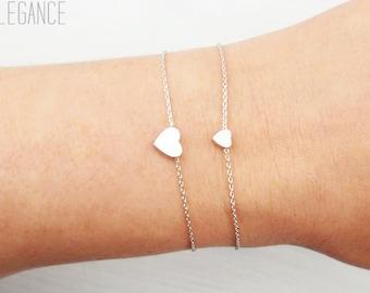 Mother daughter heart bracelets. Choose rose gold, silver or gold. Dainty heart bracelet