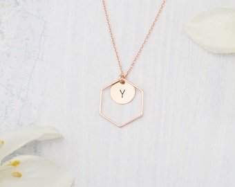 Rose gold, silver or gold geometric hexagon necklace. Personalized initial necklace. Elegant and modern.
