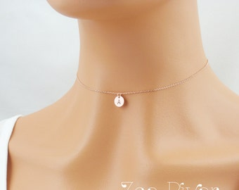 Choose rose gold, silver or gold. Dainty personalized initial choker. Small rose gold disc choker necklace. Elegant and dainty choker