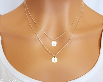 Choose rose gold, silver or gold, personalized double layered initial disc necklace, elegant and dainty