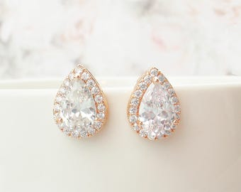 925 sterling silver post earrings. Choose rose gold, silver or gold crystal teardrop stud post earrings and or necklace set.