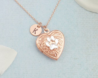 5515f1b82d7699 Personalized rose gold and silver paw print heart locket necklace. Dainty  initial locket necklace