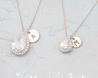 Personalized mother daughter cubic zirconia teardrop necklaces, choose rose gold or silver. Dainty mother daughter initial necklaces.