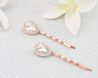 Rose gold crystal bridal hairpins. Elegant wedding hair clips. Rose gold bridal hair pin
