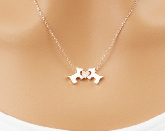 Choose rose gold or silver puppy dog necklace pendant, rose gold furbaby necklace