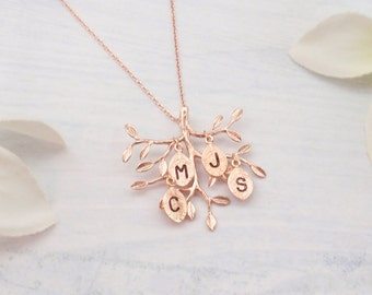 Silver, rose gold or gold personalized family tree necklace. Personalized initial tree necklace.