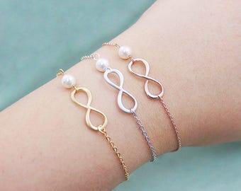 Infinity pearl bracelet, choose rose gold, silver or gold. Dainty infinity and white pearl bracelet. Bridesmaid gift, dainty bracelet