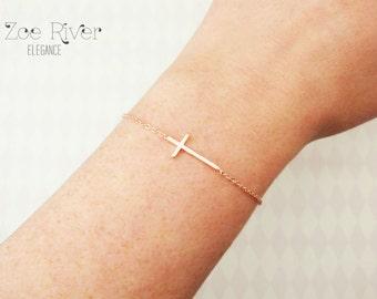 Choose rose gold, silver or gold cross bracelet. Rose gold cross bracelet. Dainty cross bracelet