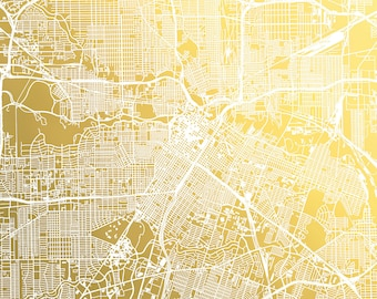 Houston City Map Gold Foil Print, Map of Houston Print, Houston Wall Art, Foil Pressed Map