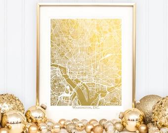 Washington D.C. Map, Gold Foil Map™, Washington DC Print, Gold Foil Print, Washington Map Print, Gift for Traveler, Map Print, Foil Maps