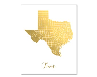 Texas gold map | Etsy