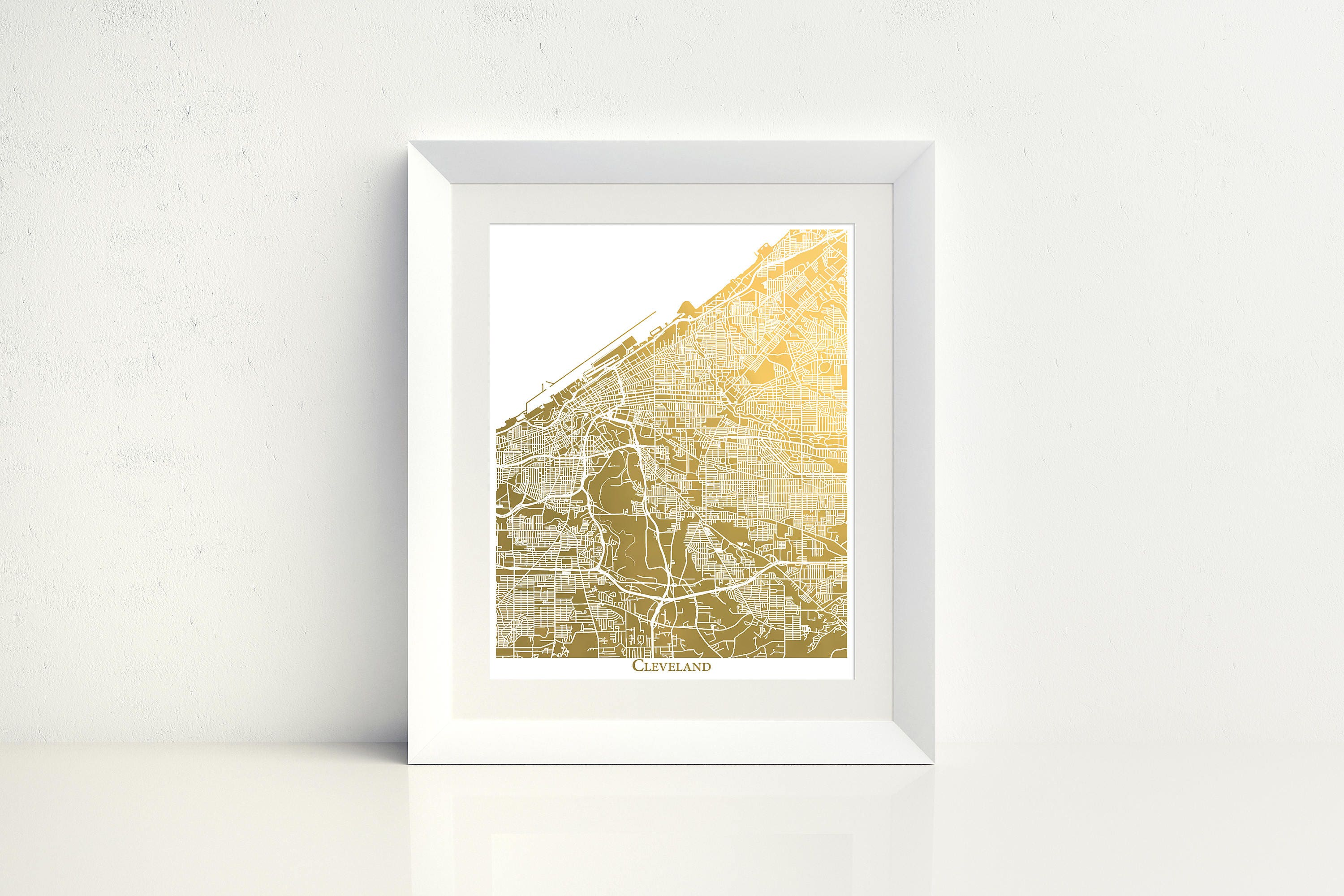 Map of Cleveland Ohio Map Print Gold Foil Print White Water