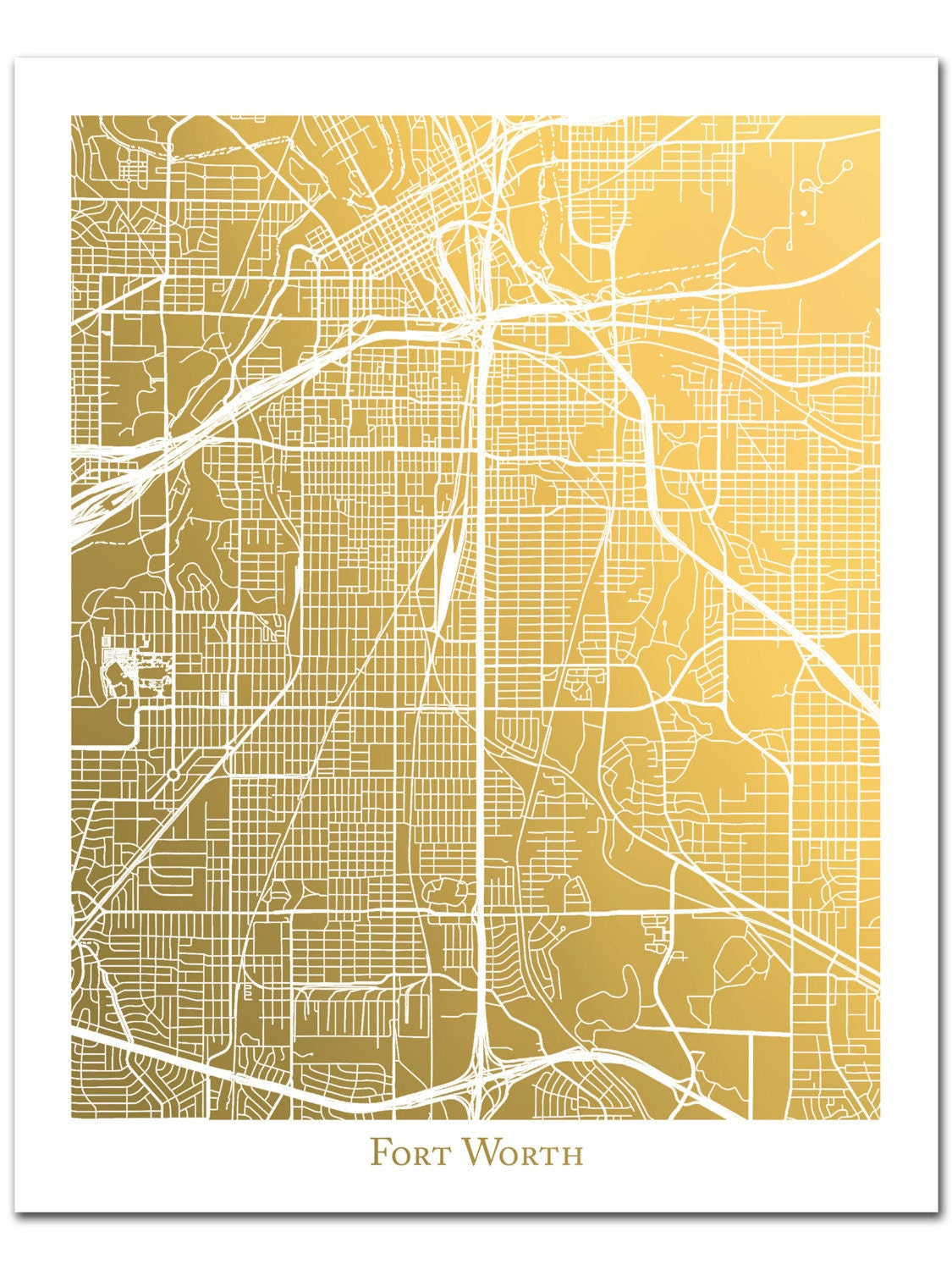 Gold Foil Map of Fort Worth Texas Fort Worth Art Print Gold | Etsy