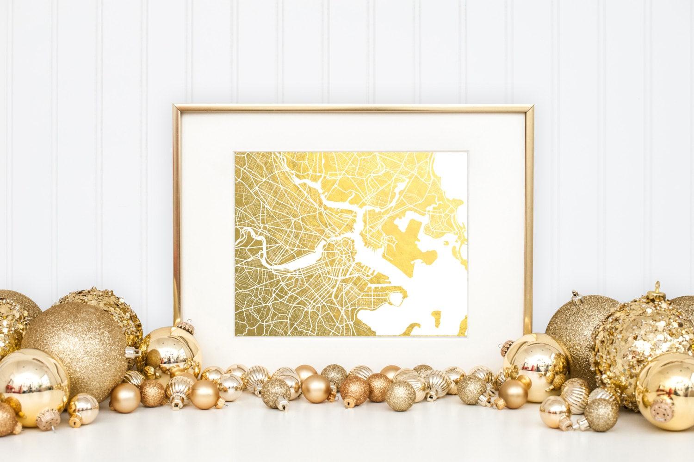 Boston Map Gold Foil Print Boston Wall Art Gold Foil Map | Etsy