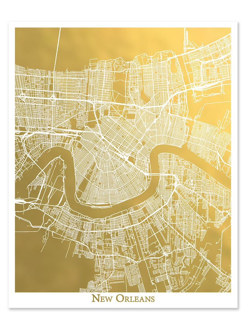 photo about Printable Maps of New Orleans named Refreshing Orleans Map, Gold Foil Map, Gold Foil Print, Poster, Foil Artwork, Clean Orleans Print, NOLA, Metropolis Map of Fresh Orleans Foil Pressed Artwork