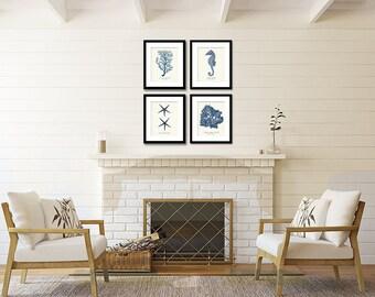 Nautical Print Set of 4 in Navy Blue, Coastal Wall Art, Coral Seahorse & Starfish Art, Wall Decor, Beach House Wall Art, Coastal Art