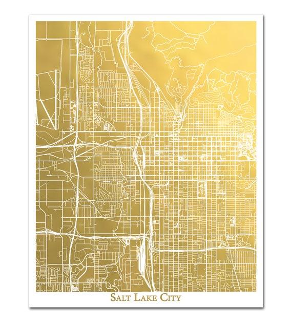 Salt Lake City Map Goldfolie Druck, Folie gepresst Wandkunst, Goldfolie  Karte von Salt Lake City metallischen Karte drucken, Weihnachten