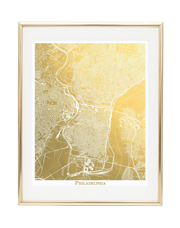 Philadelphia Map Philadelphia Gold Foil Map™ Print Gold   Etsy