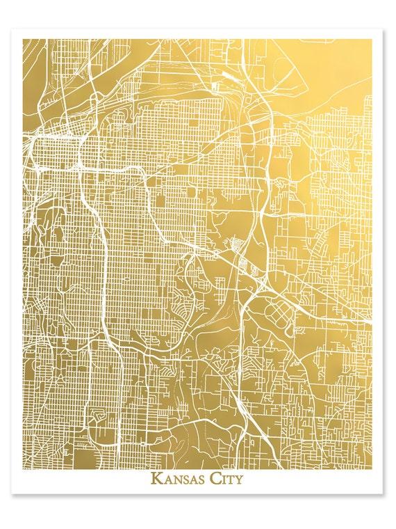 Kansas City Map, Kansas City Wandkunst, Goldfolie Karte, Goldfolie Druck,  Kansas City Druck, Folie gepresst Karte