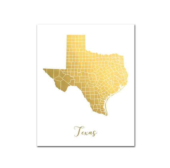 My State Map.Texas State Map Gold Foil Print Map Of Texas With Counties Etsy