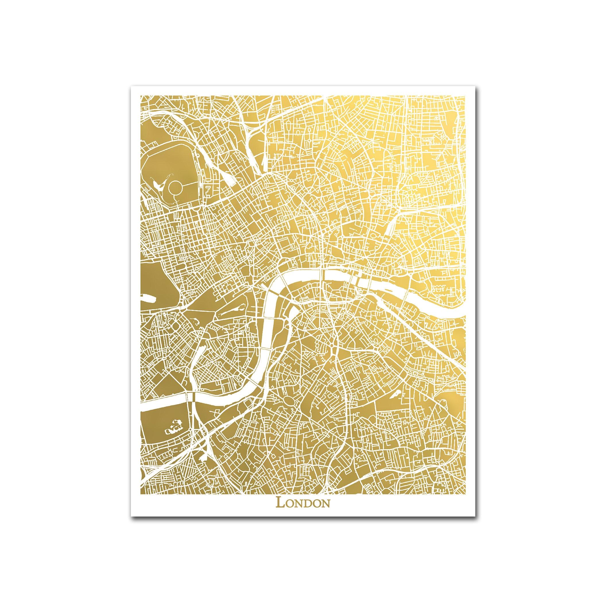 London Map Print Gold Foil Map™ Gold Wall Decor Gold Foil   Etsy
