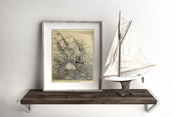 Christmas Gift For Boyfriend Octopus Print Kraken Sea Monster Vintage Octopus Art 1802 Nautical Print Octopus Wall Art Man Cave Art