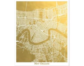 New Orleans Map Gold Foil Print, Metallic Map, Gift for Traveler, Souvenir, City Art, NOLA print