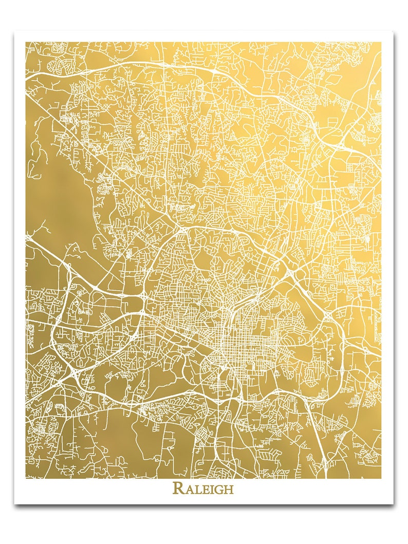 Raleigh Map Gold Foil Print City Map of Raleigh NC Map | Etsy