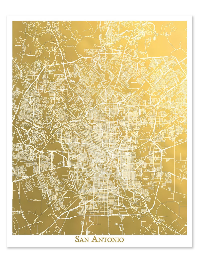 San Antonio Map, Gold Foil Map™, San Antonio Print, Gold Foil Print, on bandera city map, lewisville city map, north dallas city map, seattle city map, port st lucie city map, texas map, boston city map, bexar county zoning map, st george city map, minneapolis st paul city map, alamo heights city map, albuquerque city map, santa fe city map, schertz city map, lockhart city map, cabo san lucas city map, greater phoenix city map, richardson city map, el centro city map, pierre city map,