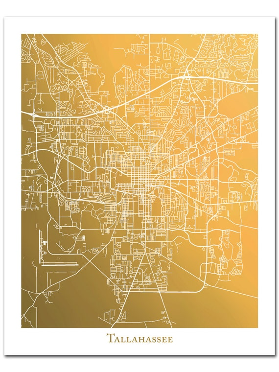 Tallahassee Map Art, Tallahassee Print, Gold Foil Map, Map Wall Art  Featuring Tallahassee, Florida, Gold Foil Print, Gift for Traveler