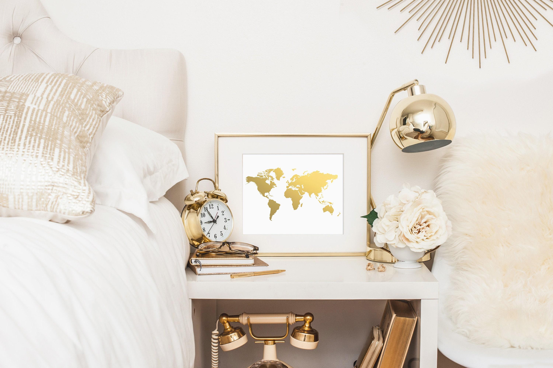 Welt Karte Drucken Goldfolie Map™ Gold Weltkarte Gold Karte   Etsy