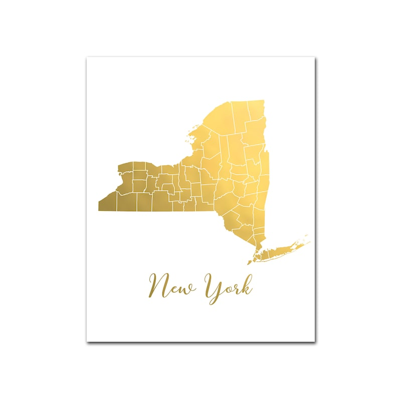image about Printable Maps of New York State called Contemporary York Region Map, Gold Foil Print, Map of Clean York Nation with Counties, Foil Pressed Artwork, Map Artwork, Gold Foil Map