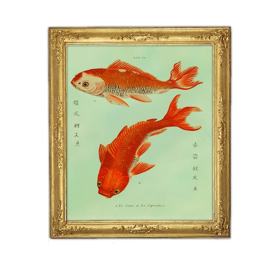Two Goldfish Koi Print Fish Art Feng Shui Art Marriage Love Etsy
