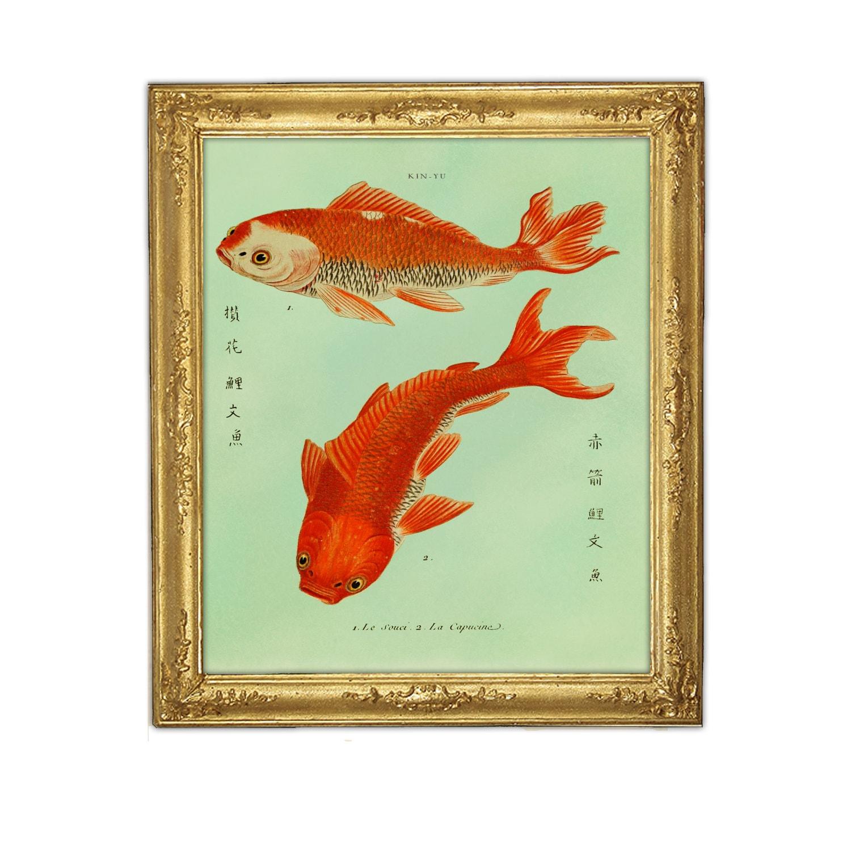 Two Goldfish Koi Print Fish Art Feng Shui Art Marriage Love | Etsy