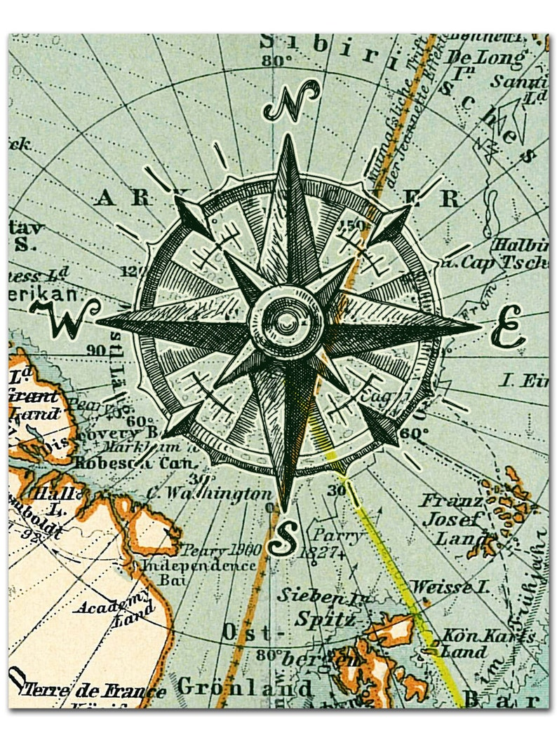 Compass On Map Nautical Map Compass Print Compass on Map Poster Nautical   Etsy