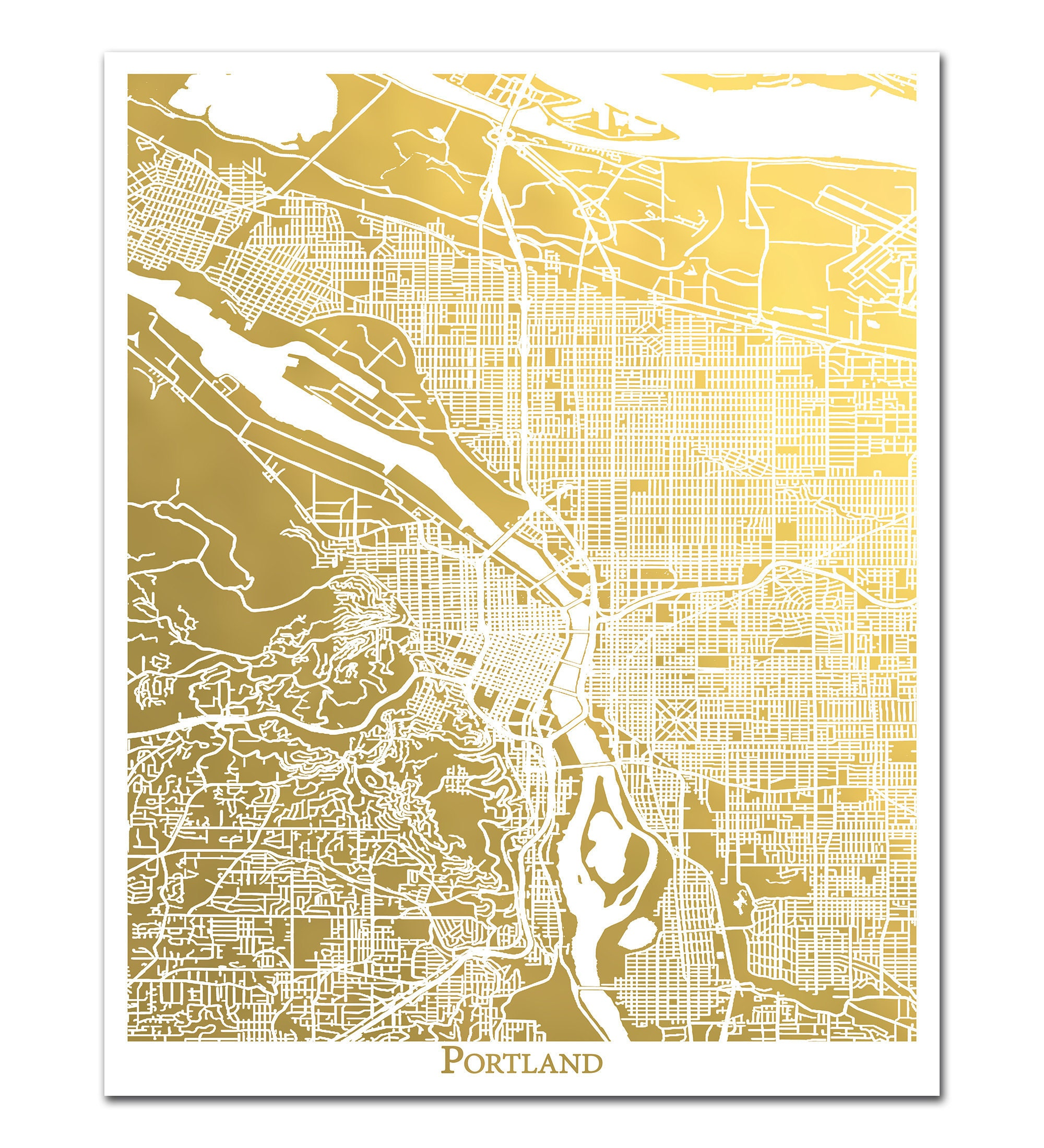 Portland Map Gold Foil Map Gold Print Gold Foil Print   Etsy