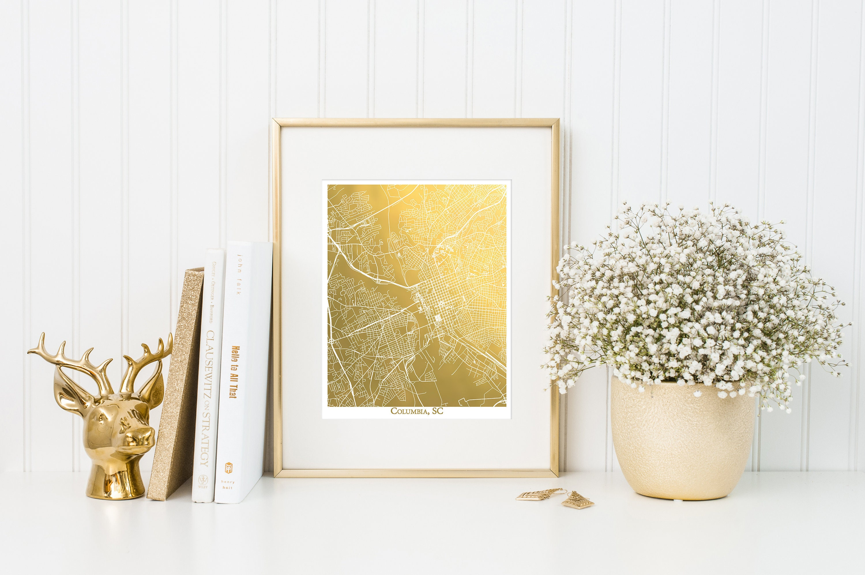 Columbia Map Map Wall Art Map Print Gold Foil Map of | Etsy